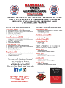 Check out our sponsorship levels for the Baseball Sports Enthusiasts Luncheon, set for May 27.