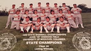 The 1989 Licking High School baseball team repeated as Class 2 state championships. That's Hagler on the far left. Notice the jerseys look like the Cardinals' Birds on the Bat?