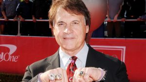 Former baseball manager Tony La Russa shows off his World Series rings.