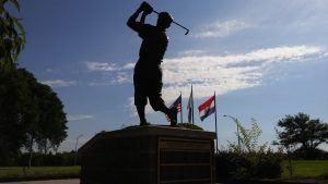 Payne Stewart's larger-than-life bronze statue was dedicated on Aug. 12, 2000.