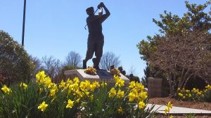 The Payne Stewart larger-than-life statue was dedicated Aug. 12, 2000 at the Missouri Sports Hall of Fame.