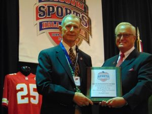 Rich Johanningmeier, left, with MSHOF President and Executive Director Jerald Andrews
