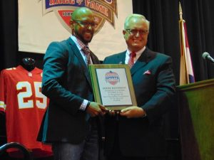 Eddie Kennison with Missouri Sports Hall of Fame President and Executive Director Jerald Andrews