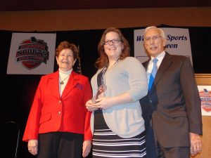Monique (Willcut) Begley with, on the left, Dr. Mary Jo Wynn and MSHOF Chairman Leon Combs