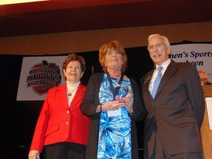 Julie Martin with, on the left, Dr. Mary Jo Wynn and MSHOF Chairman Leon Combs