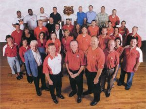 Art Hains, front far right, with the Chiefs Radio Network.