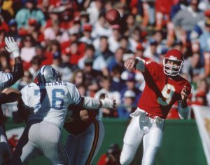 Kansas City Chiefs quarterback Bill Kenney (9) throws the ball downfield during the Oct. 23 1988 home game against the Detroit Lions. The Chiefs lost 6-7.