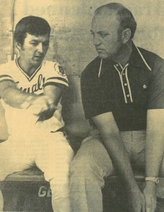 Dan Bishop, right, with the Royals' Fred Patek.