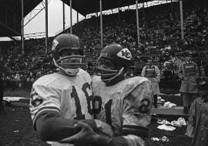 Len Dawson and Mike Garrett enjoy the moment after beating the Buffalo Bills on November 2, 1969.