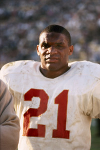 Kansas City Chiefs running back Mike Garrett (21) watches in frustration during the Chiefs 35-10 loss to the Green Bay Packers in Super Bowl I on 1/15/1967 at the Los Angeles Memorial Coliseum. Super Bowl I - Kansas City Chiefs vs Green Bay Packers - January 15, 1967 Los Angeles Memorial Coliseum Los Angeles, California United States January 15, 1967 Photo by James Flores/WireImage.com To license this image (6288754), contact WireImage: +1 212-686-8900 (tel) +1 212-686-8901 (fax) info@wireimage.com (e-mail) www.wireimage.com (web site)